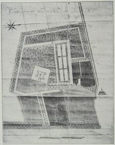 'Caarte van het Huijs tot Nederhorst, Ao 1700' van de landmeter Bernard de Roy. Archief Nederhorst, verloren gegaan bij brand in 1971.