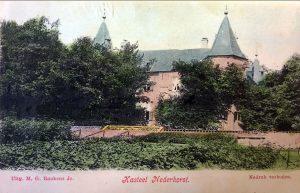 Met de hand ingekleurde prentbriefkaart uit 1904 van de zuidzijde van Nederhorst, Collectie Harmine Wolters Stichting