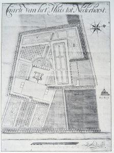 'Caarte van het Huis tot Nederhorst'; met een ontwerp voor de aanpassing van de aanleg op Kasteel De Nederhorst; door J. van Staden, 1713. Archief Nederhorst, verloren gegaan bij brand in 1971.