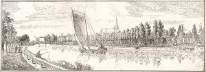 De ridderhofstad Nederhorst en het dorp den Berg, ets van Jacobus Buys in Het Verheerlijkt Nederland, (1740). N.b. de prent is in spiegelbeeld!