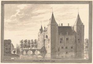 Gewassen tekening van Abraham de Haen uit 1730 , waarschijnlijk naar een tekening van Cornelis Pronk. (Rijksprentenkabinet)