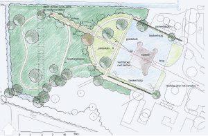 Ontwerp achterpark Nederhorst. (ir. Peter Verhoeff Landschapsarchitect BNT van Stichting PHB, 2006)
